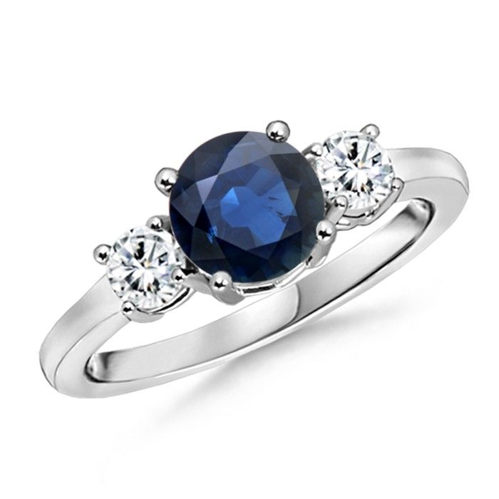 Angara Oval Blue Sapphire Three Stone Ring With Round Diamonds White Gold IRj3y