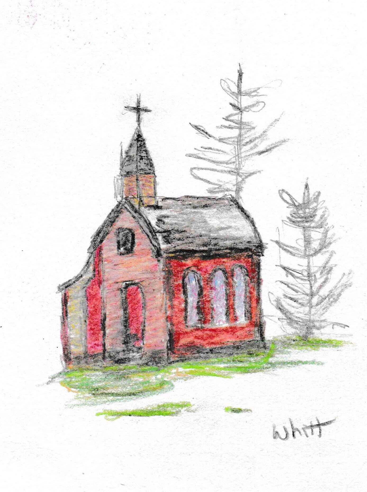 Red House Drawing: Little Red, Drawings, Art