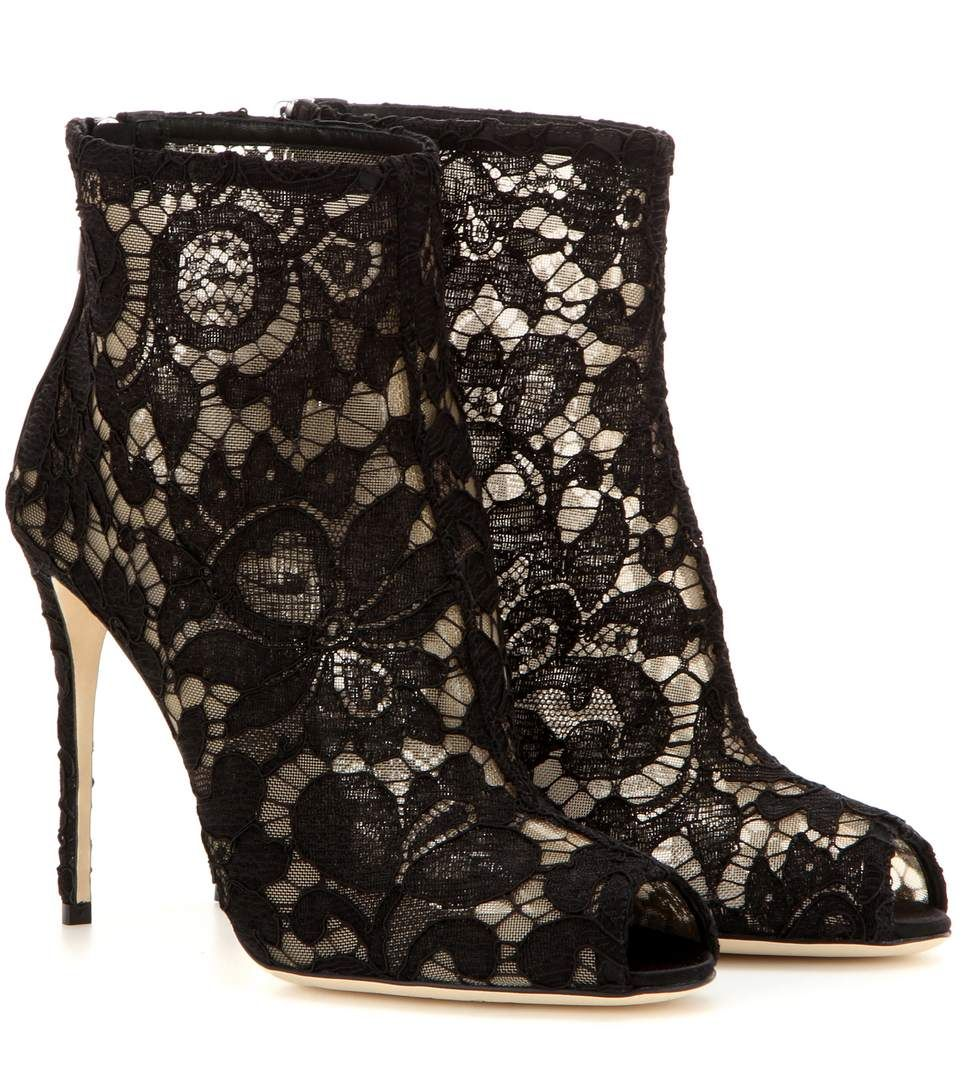 Dolce & Gabbana Boots In Lace In Black   ModeSens   Lace