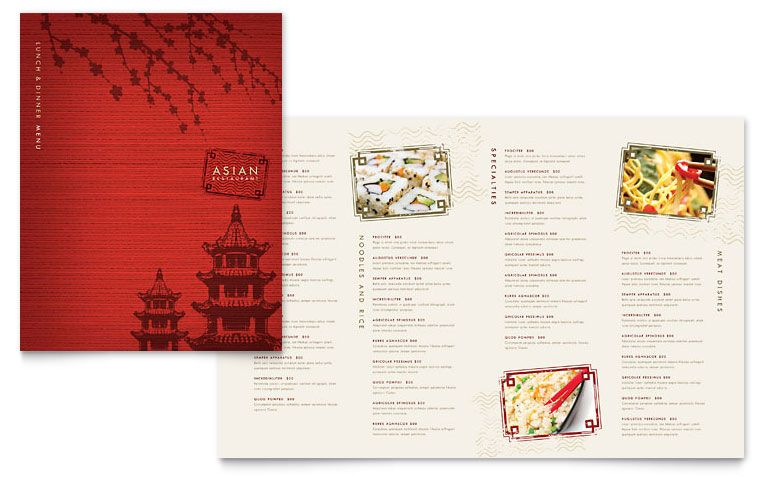 Asian Restaurant Menu Template Design Single Menu Pinterest - menu template for word