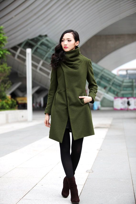 High Collar Wool Jacket Winter Wool Coat for Women in Army Green ...