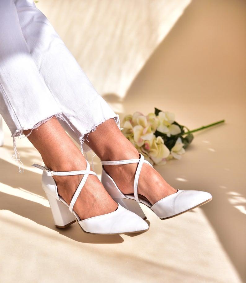 Wedding shoes Block heel white bridal shoes Handmade shoes   Etsy