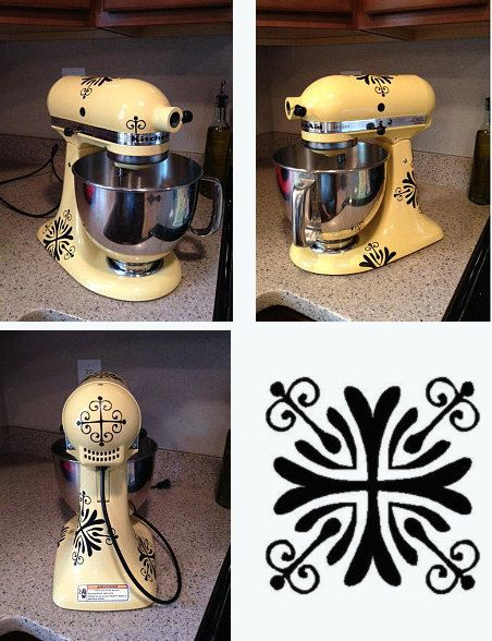 Kitchen Mixer Decal Fancy Flourish set by HouseHoldWords on Etsy