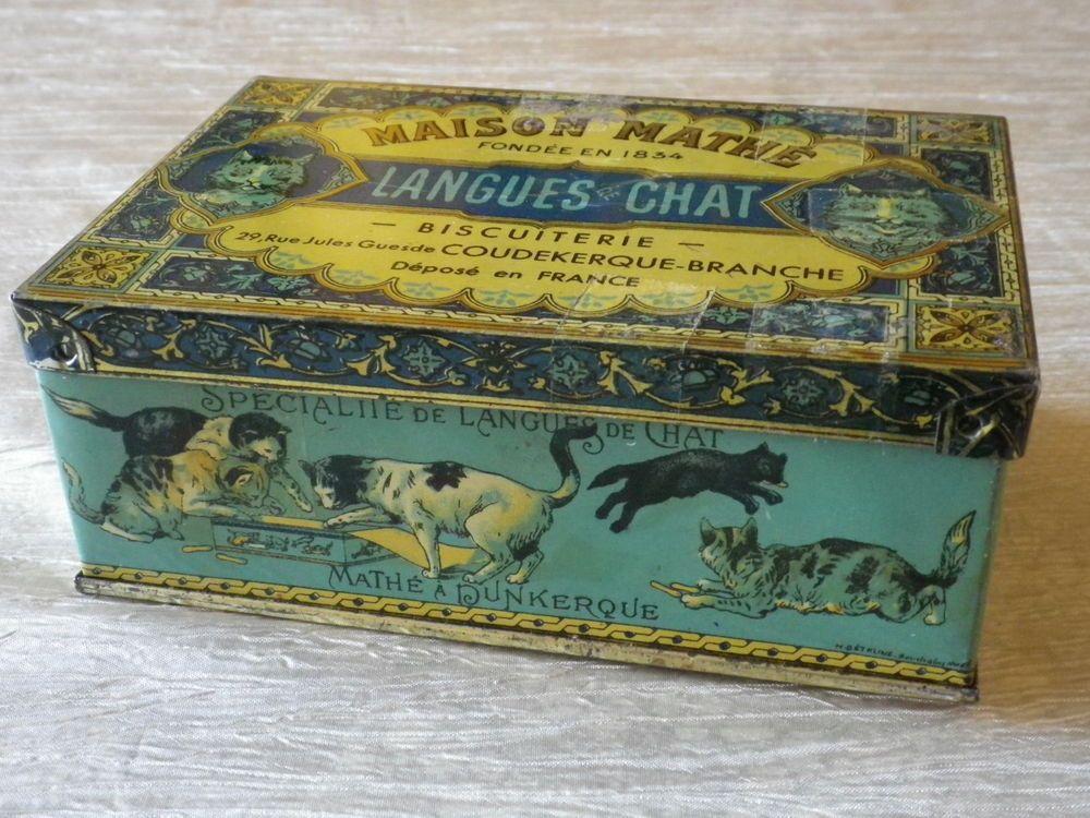 Ancienne boite tole biscuits langues de chat maison math dunkerque coudekerque bo tes en fer - Boite metal ancienne ...