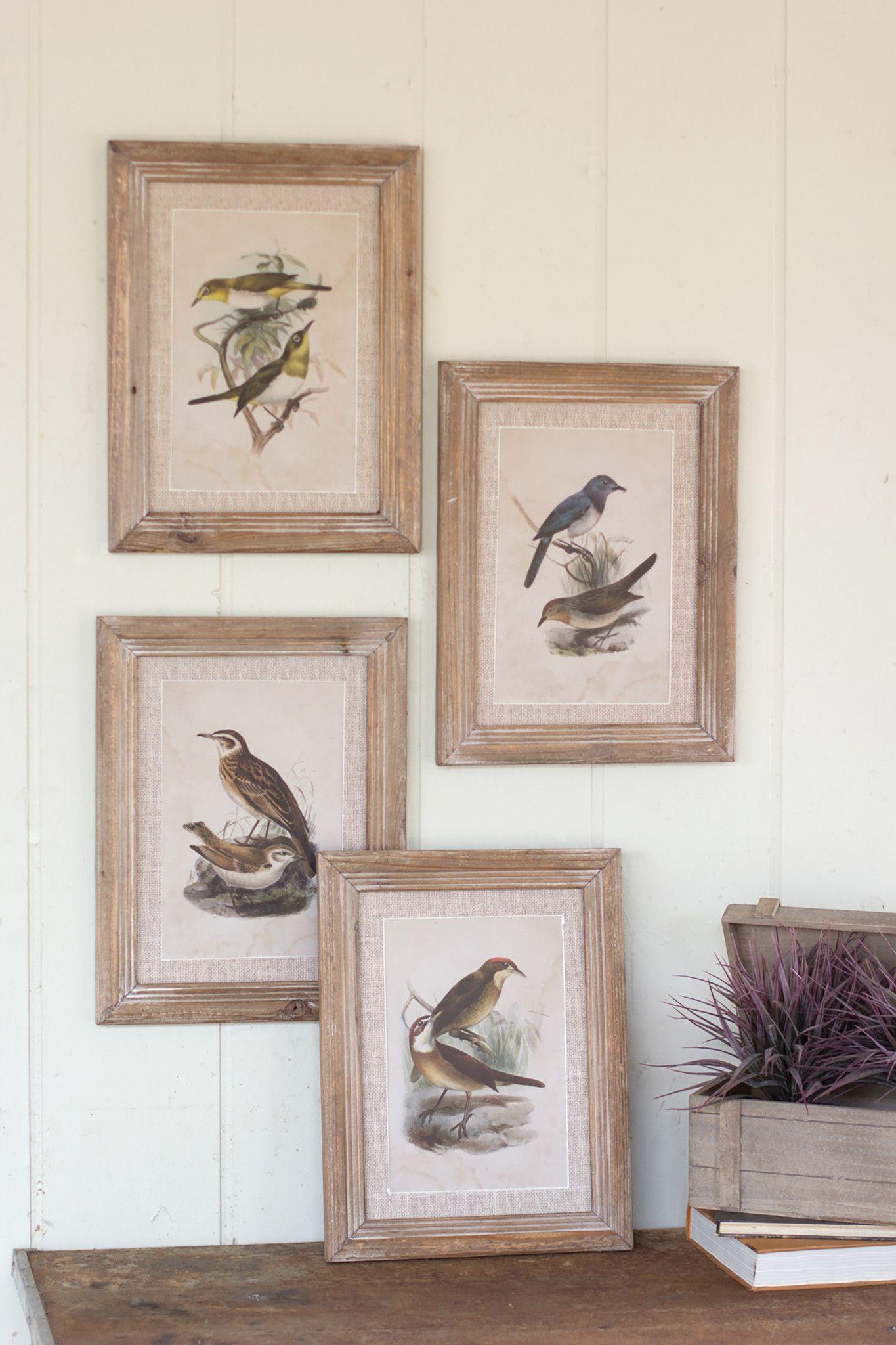 Set Of Four Framed Bird Prints Wall Art