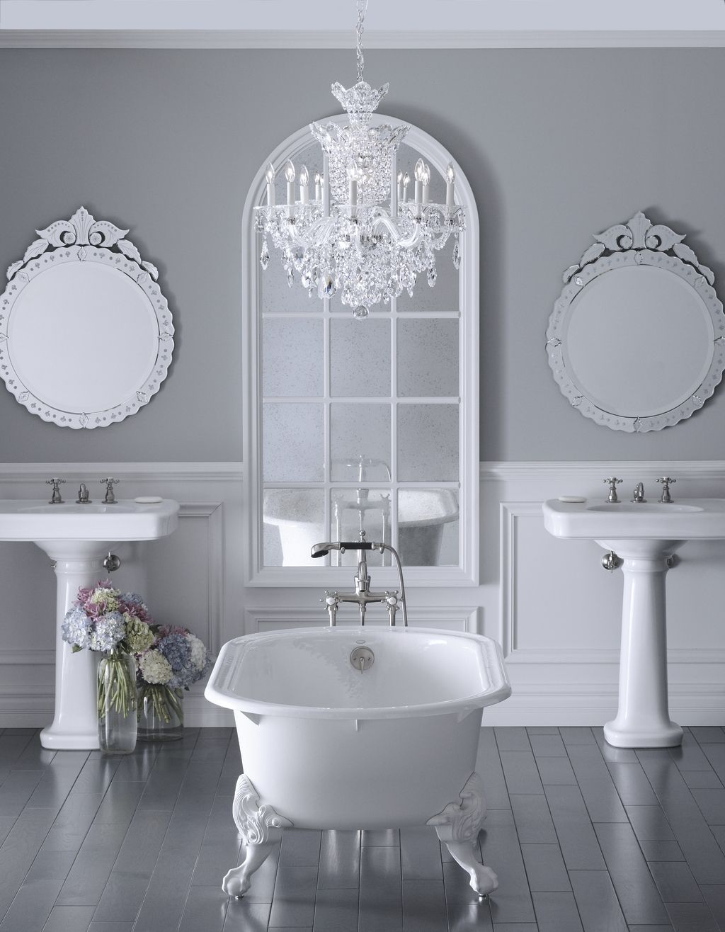 The bold look of bathroom ideas pinterest grey bathrooms iron chandeliers bathroom itself is a little ornate but the clawfoot tub and chandelier is cool aloadofball Images