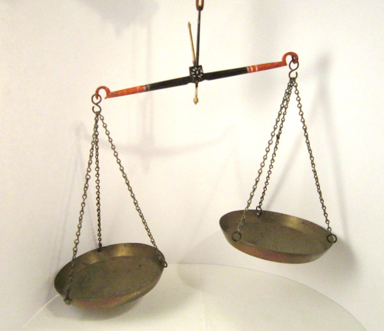 Old Hanging Balance Scale, Iron Beam with Brass Pans and ...