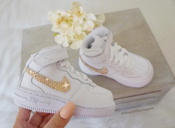 Nike Air Force 1 Kid's Sneakers with Rose Gold Swa