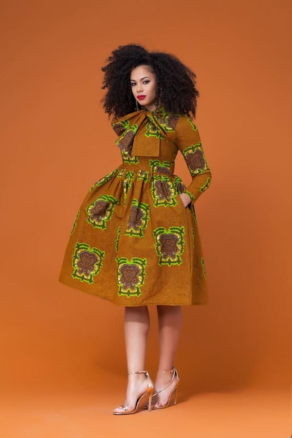 African Print Senegal Midi Dress: African Print Pikine Midi Dress