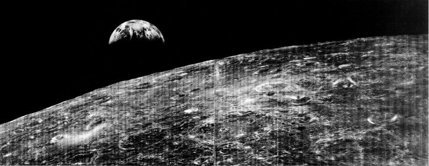 <b>The First Photo of the Earth, 1966</b>; On Aug. 23, 1966, the world received its first view of Earth taken by the Lunar Orbiter I from the vicinity of the Moon.
