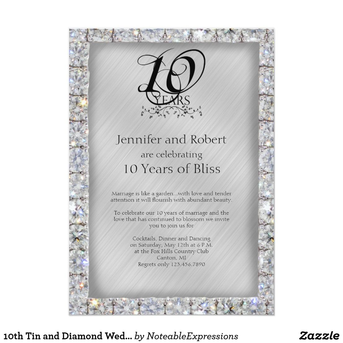 10th Tin And Diamond Wedding Anniversary Invitation Zazzle Com Anniversary Invitations Wedding Anniversary Invitations Diamond Wedding Anniversary Cards
