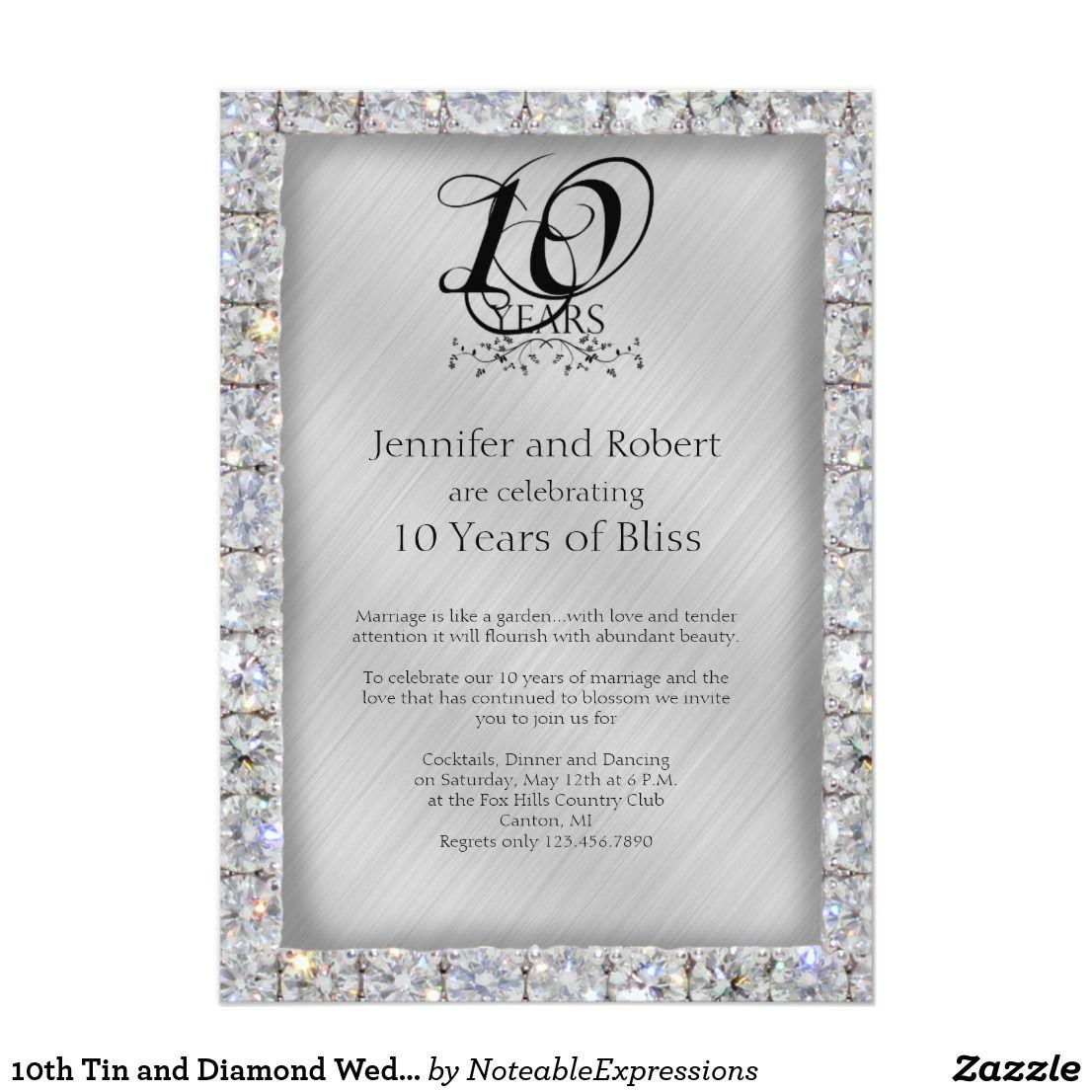 10th Tin and Diamond Wedding Anniversary Card   Wedding anniversary ...