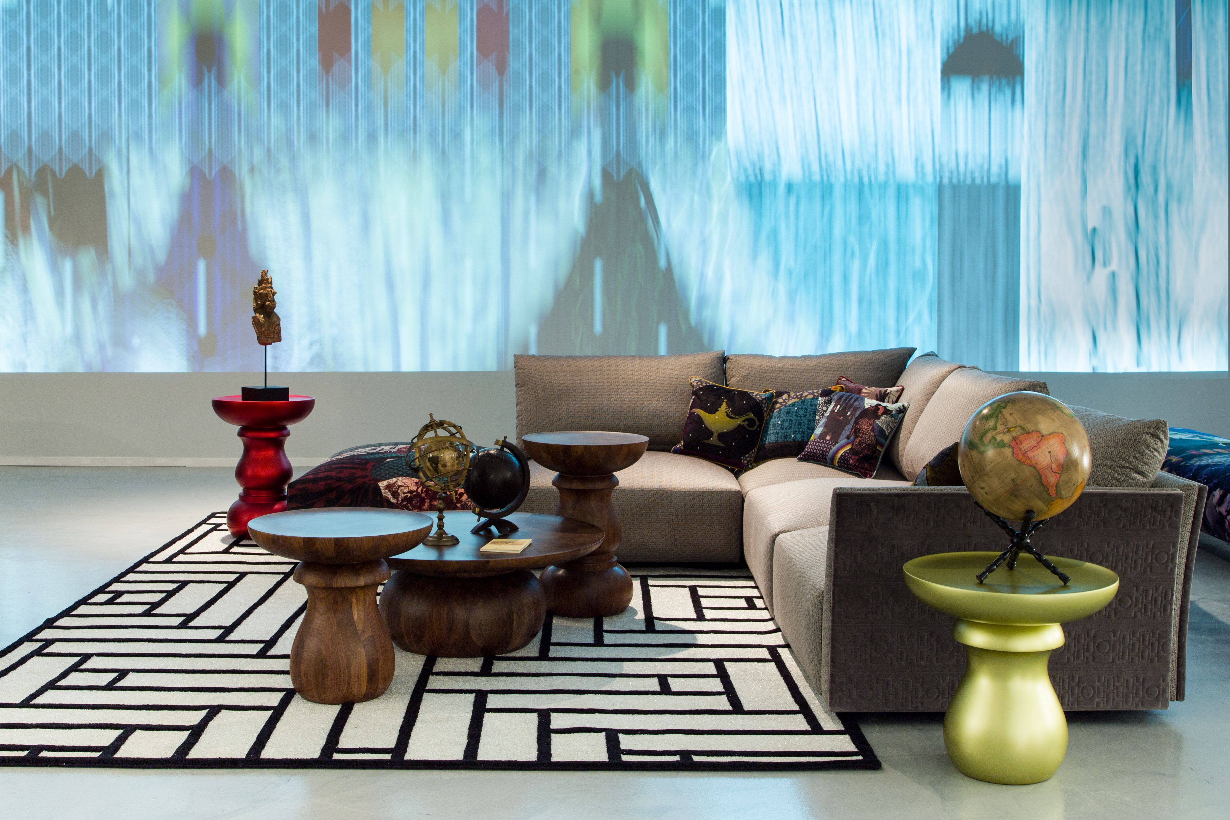 Roche Bobois | Cerf-Volant sofa and Chess tables, designed by Marcel ...