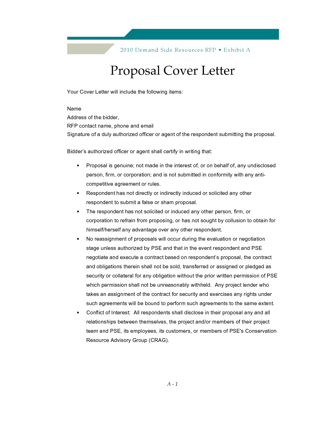 Sample Proposal Cover Letter