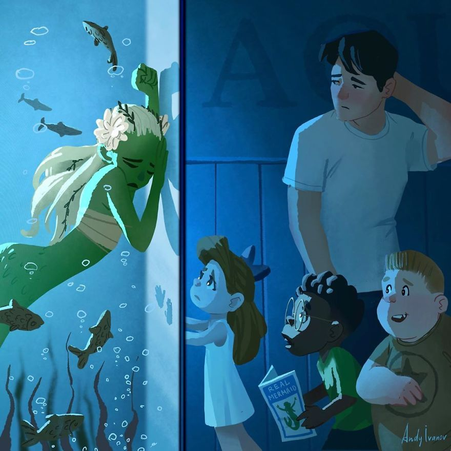 This Artist Illustrated A Story About A Green Mermaid That Hits People In The Feels
