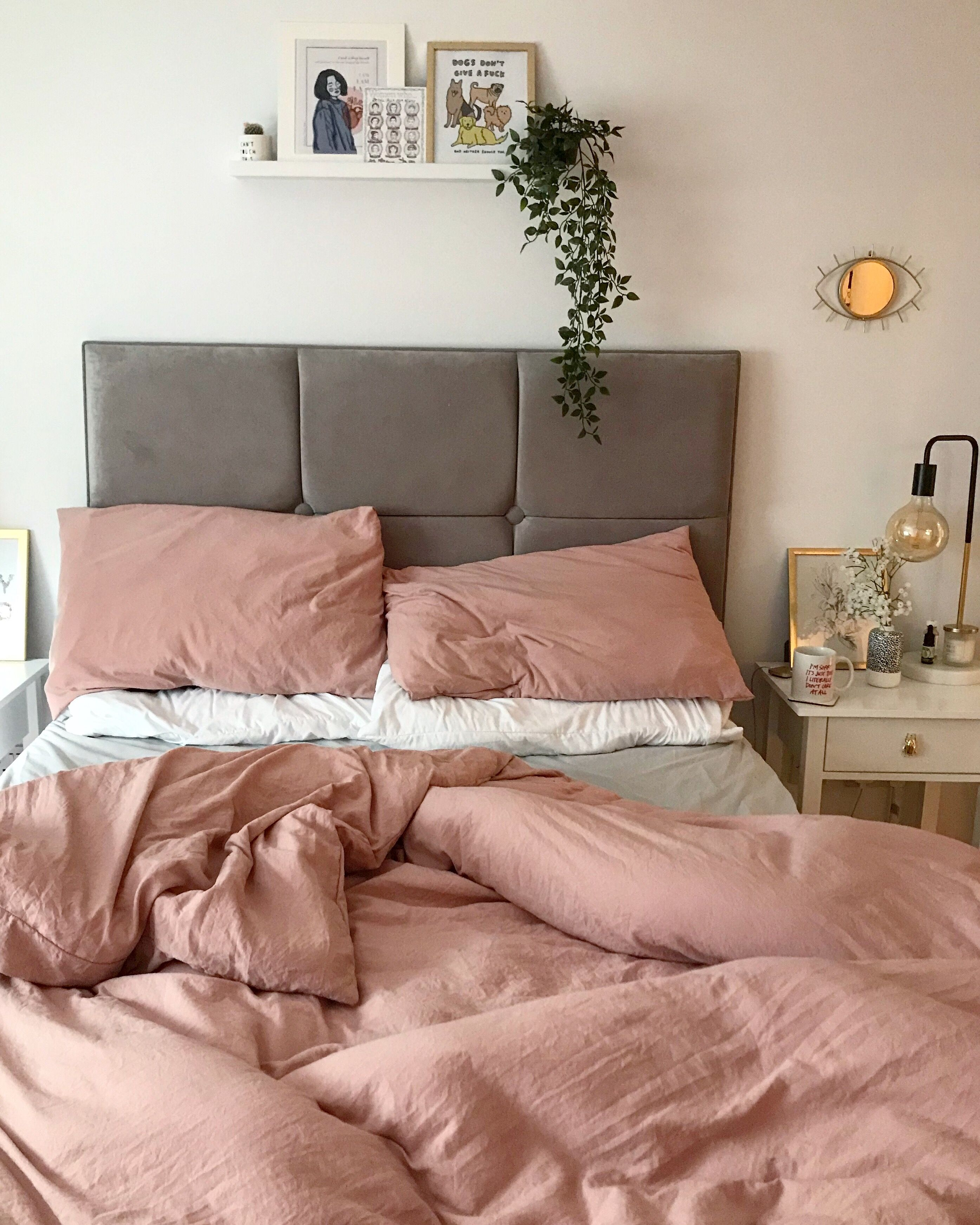 Pink And Grey Boho Bedroom With Plants Room Inspiration Bedroom