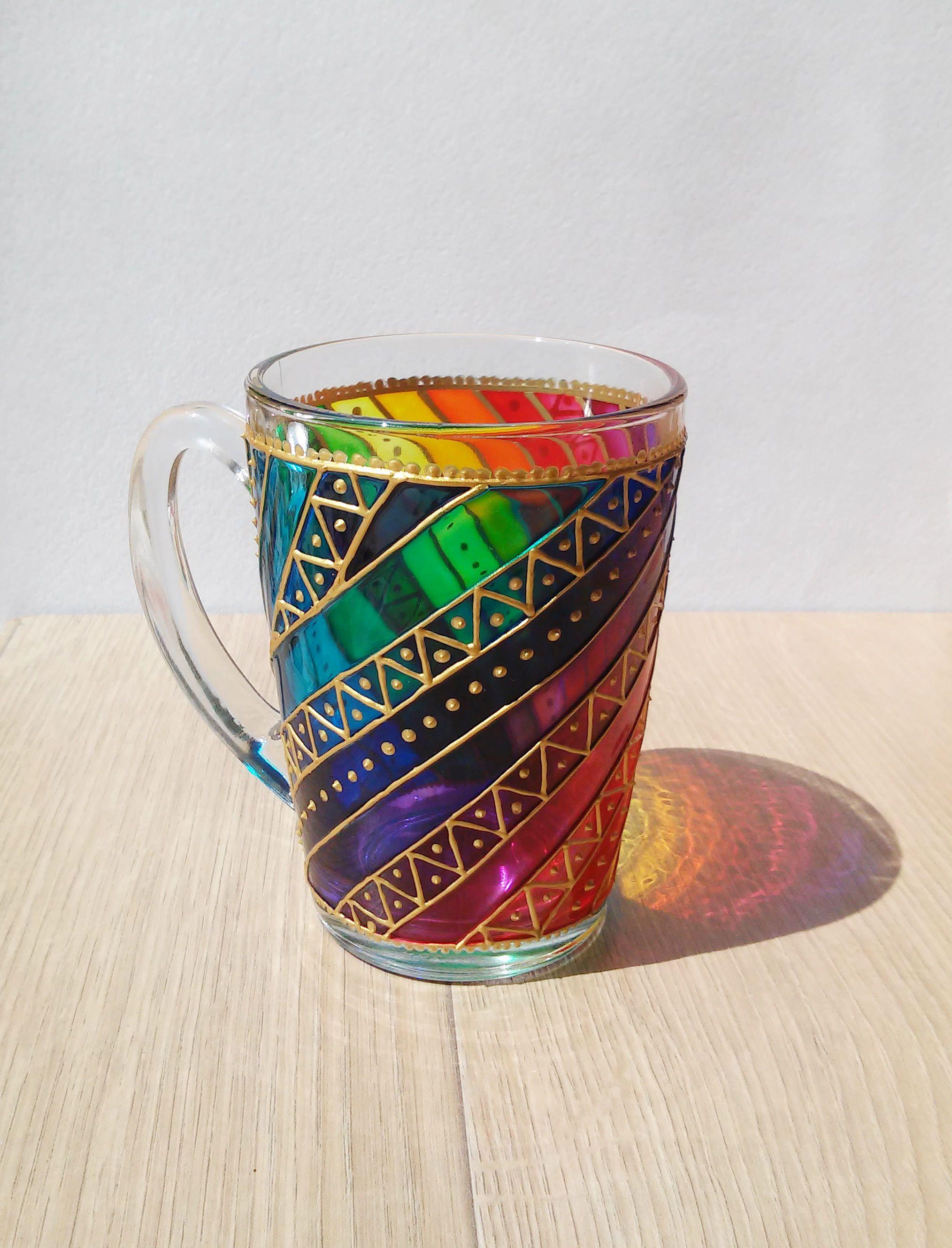 Rainbow coffee mug, stripes coffee cup, sun catcher mug