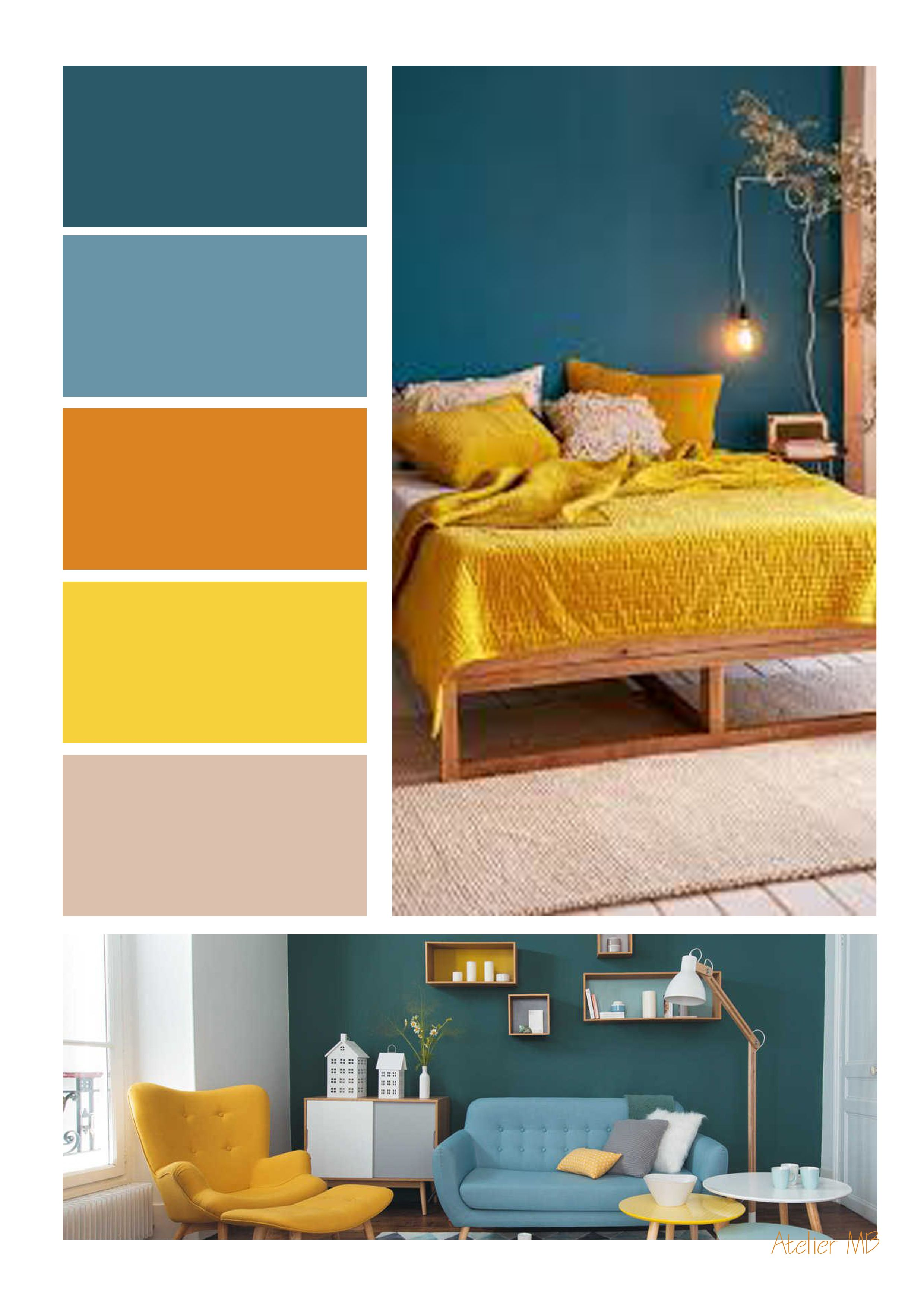 Palette De Couleur Bleucanard Jaunemoutarde Colours Idees