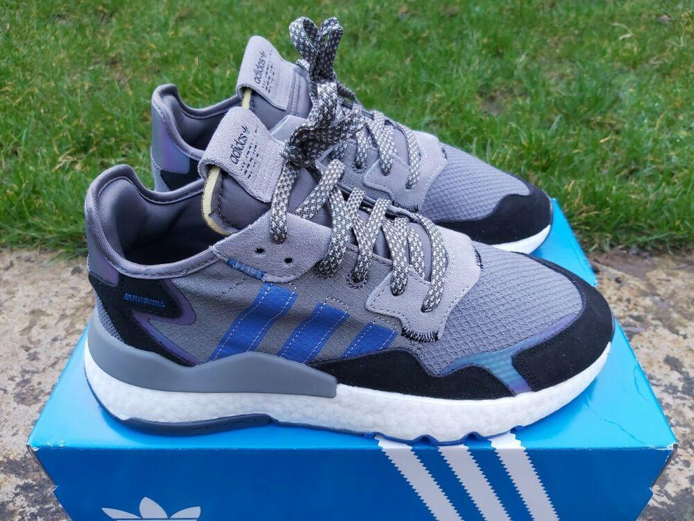 Details about Adidas Nite Jogger Mens Grey Blue Black