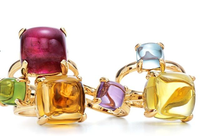 961808943 How gorgeous are these Paloma Picasso Sugar Stack rings at Tiffany & Co.?  The luscious colors are designed to be stacked or worn alone.