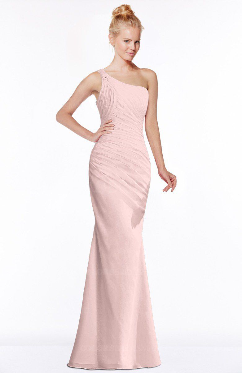 8079bc8d1678 Pastel Pink Simple A-line Sleeveless Chiffon Floor Length Bridesmaid Dresses  (Style D03535)