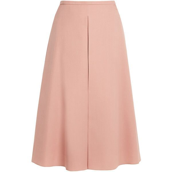 08f250336c Rochas Inverted-pleat A-line wool skirt ($665) ❤ liked on Polyvore  featuring skirts, pink, rochas, red knee length skirt, box pleat skirt,  pink a line ...