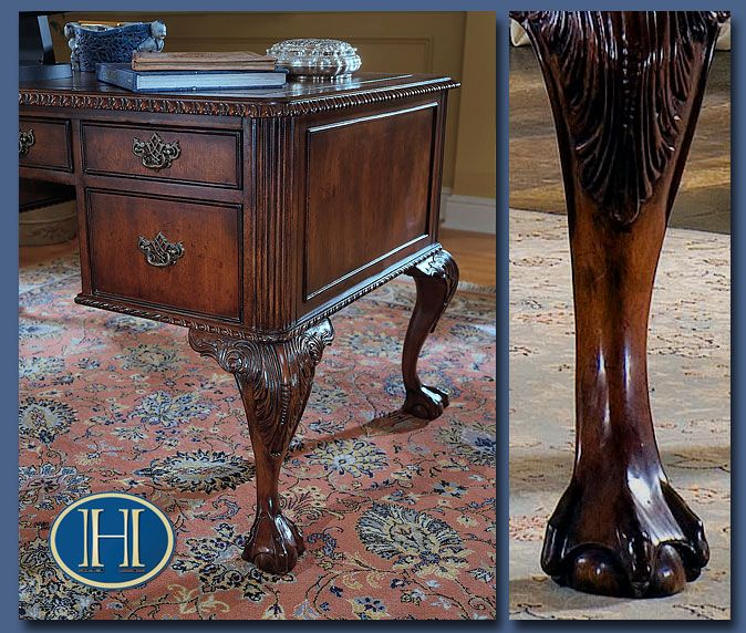 ball  claw 60 inch writing desk ball  claw foot detail