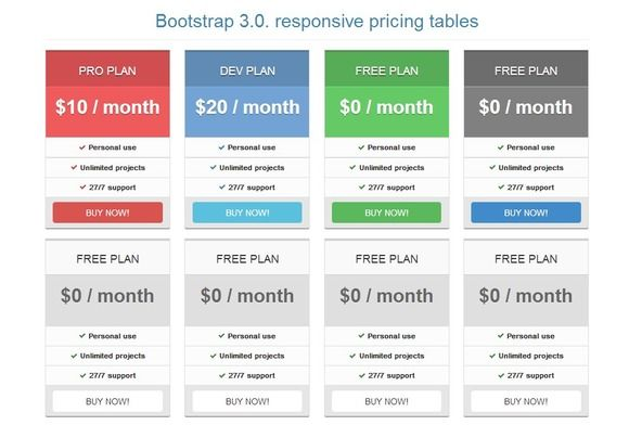 Bootstrap 3 0 Pricing Tables Flat Pricing Table Website Template Design Website Template