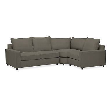 PB Comfort Square Arm Upholstered Left-arm 3-Piece Wedge Sectional, Knife Edge Polyester Wrapped Cushions, Textured Basketweave Metal Gray
