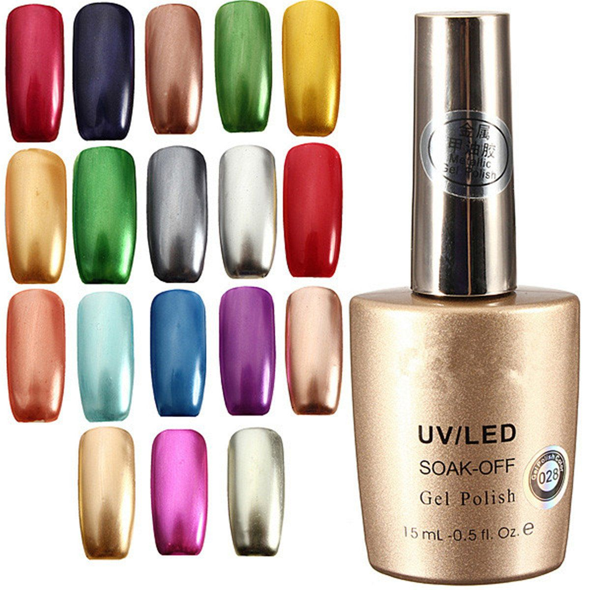 17 Colors 15ml Metallic Soak Off Metal Nail UV Gel Polish