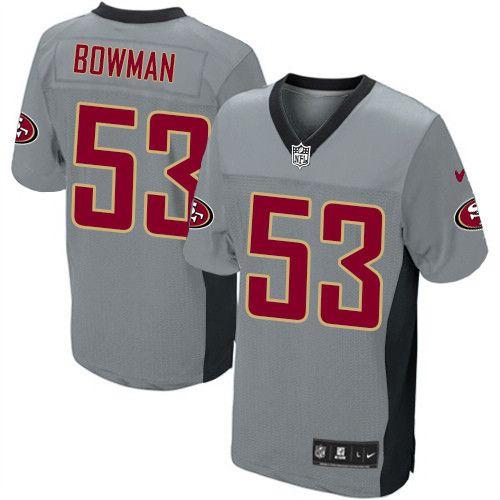 9387fcc95e5 Mens Nike San Francisco 49ers  53 NaVorro Bowman Elite Grey Shadow NFL  Jersey sale