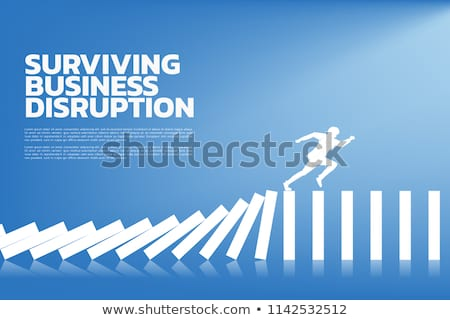 Surviving Business Disruption Silhouette Of Businessman Running From Domino Collapse Concept Of Business Industry Disrupt Business Man Business Survival