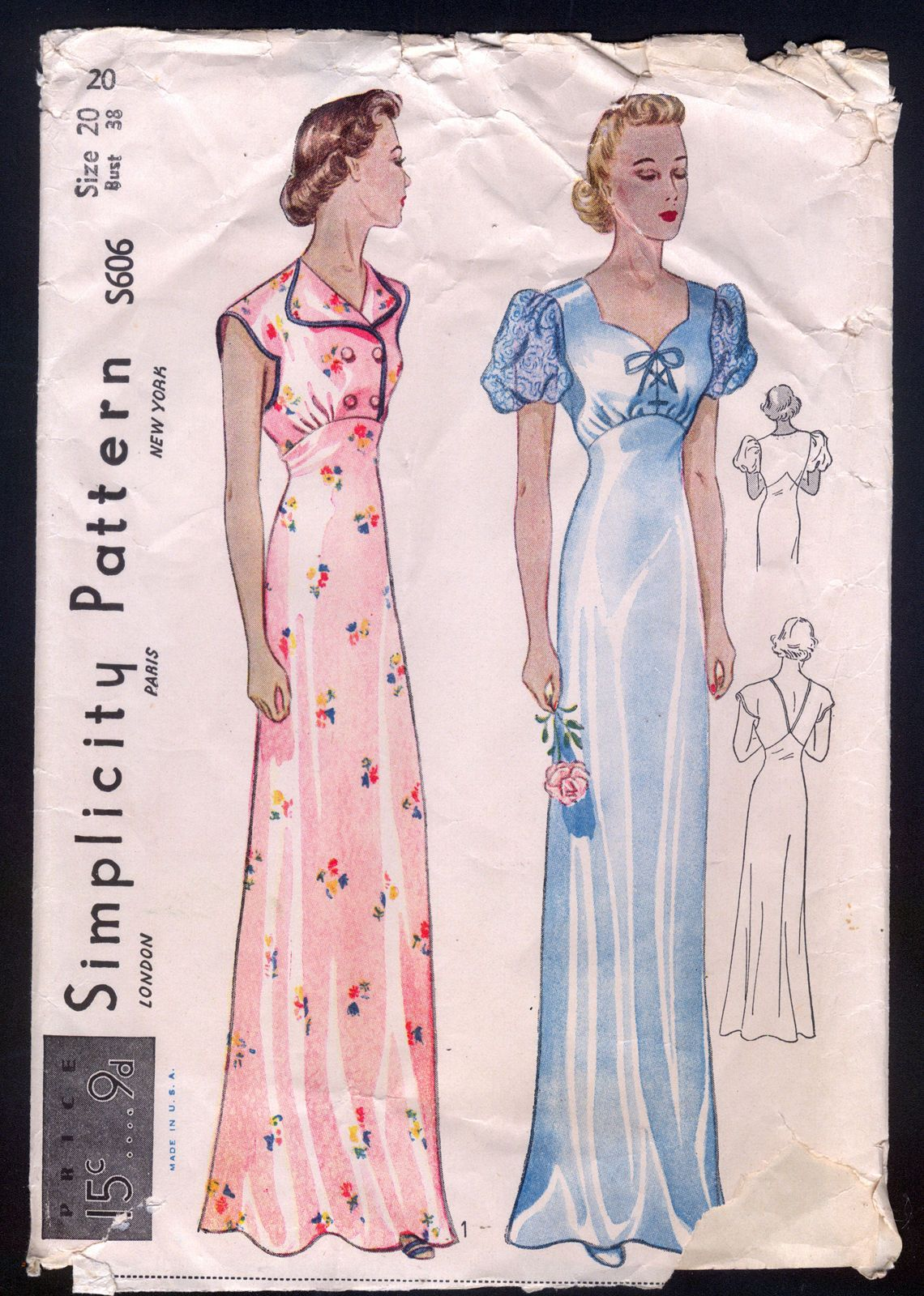 1930\'s Simplicity Pattern - Ladies\' Night Gown With Empire Waistline ...