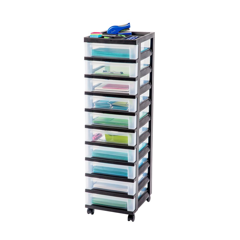 Iris 108 Qt 10 Drawer Storage Bin In Black 116900 The Home Depot Rolling Storage Cart Rolling Storage Storage Cart