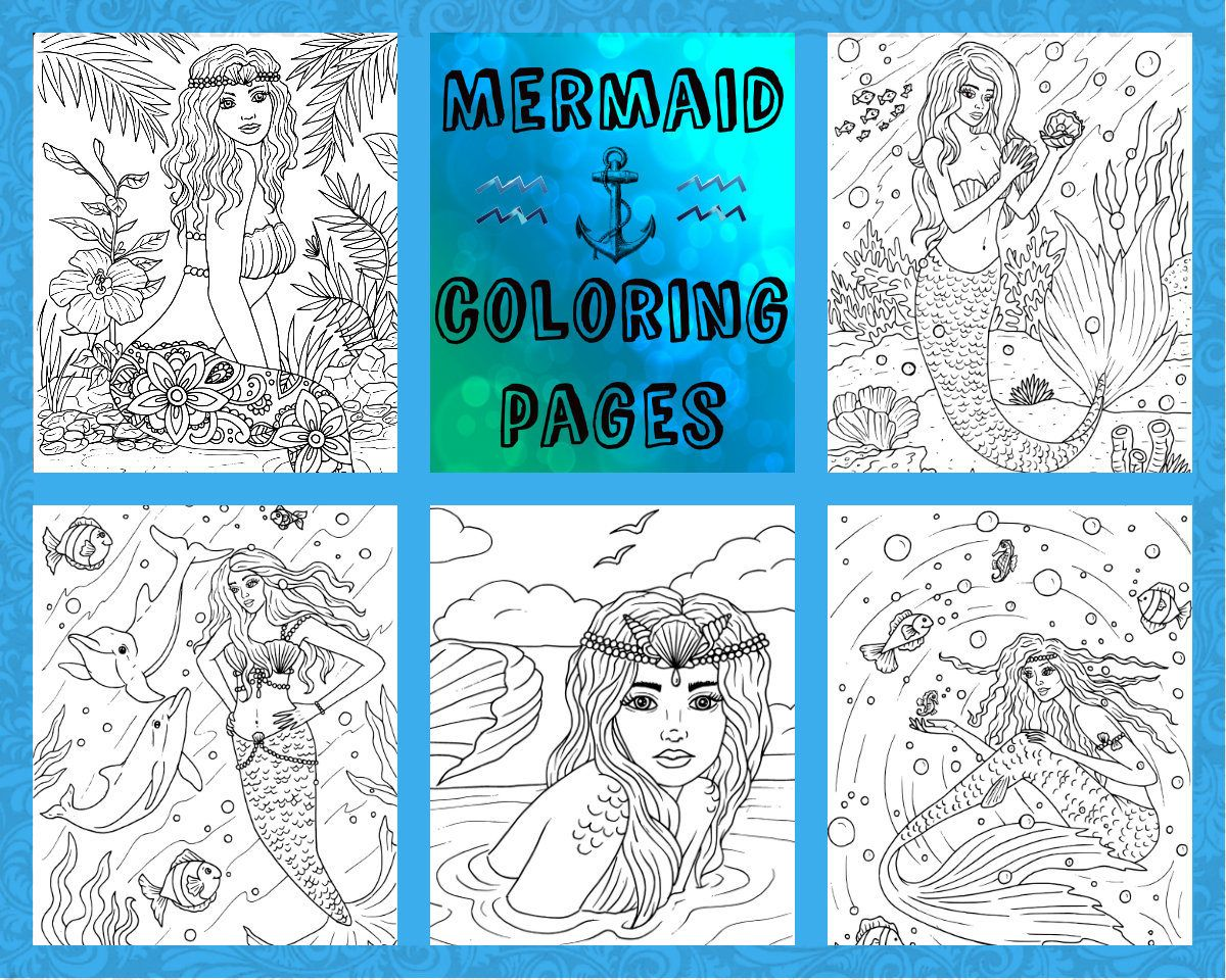 Adult coloring-coloring pages-5 page pdf download-Mermaids... by ...