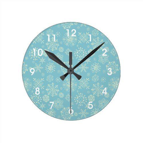 Blue Winter Snowflakes Wall Clock