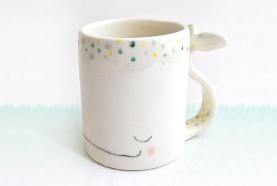 ceramic dreamy whale mug ceramic dreamy whale cup in earthenware decorated with green and. Black Bedroom Furniture Sets. Home Design Ideas