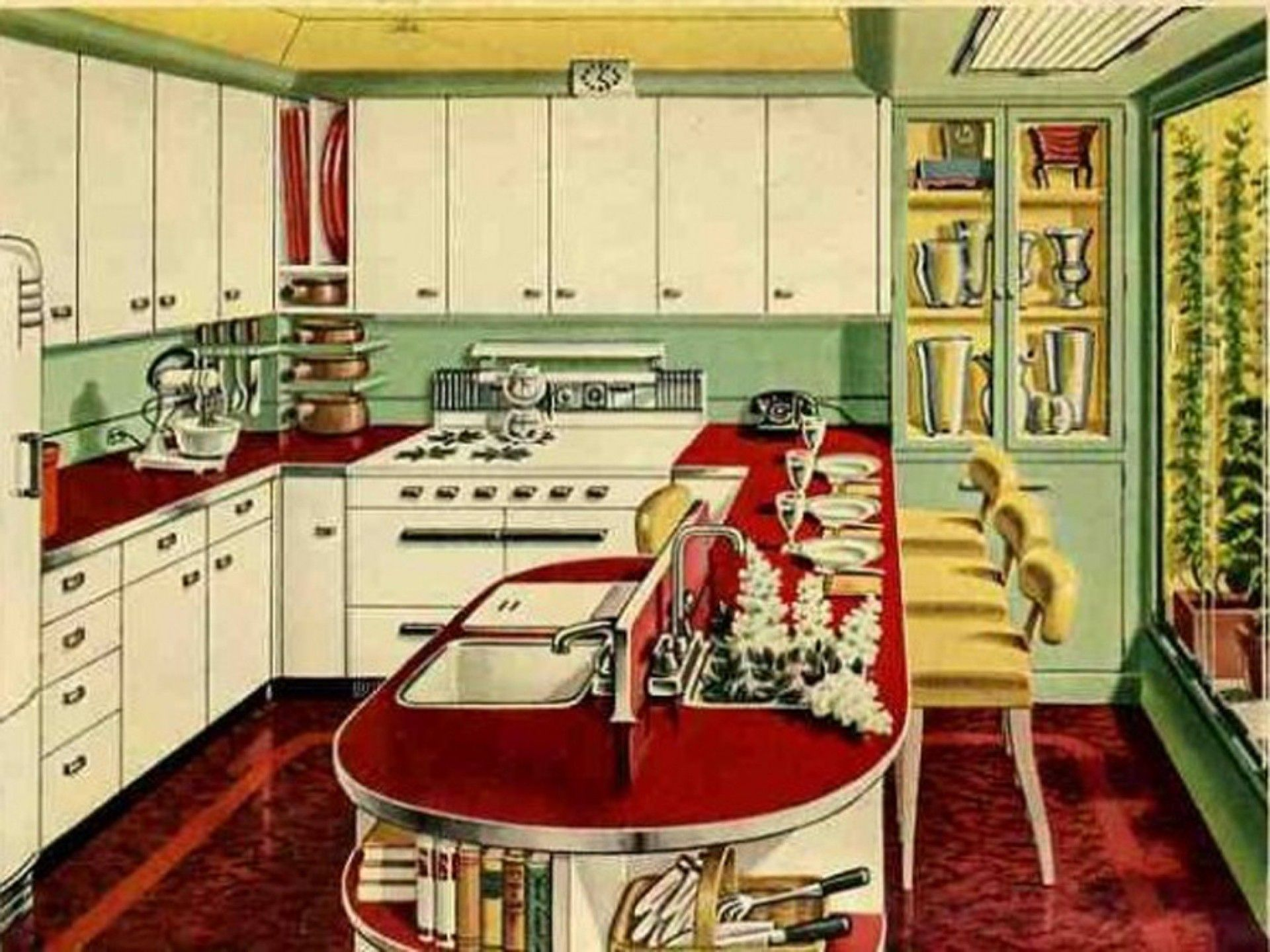 Charming Green And Red Kitchen Ideas Part - 8: Wonderful White Green Red Wood Stainless Glass Cool Design Fantastic Retro Kitchen  Ideas Wall Cabinet Base