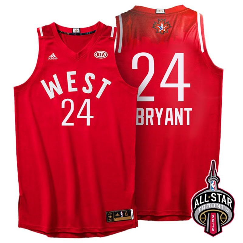 ea53569f220a ... 2016 Toronto All-Star Western Conference 24 Kobe Bryant Jersey Red.  Stitched ...