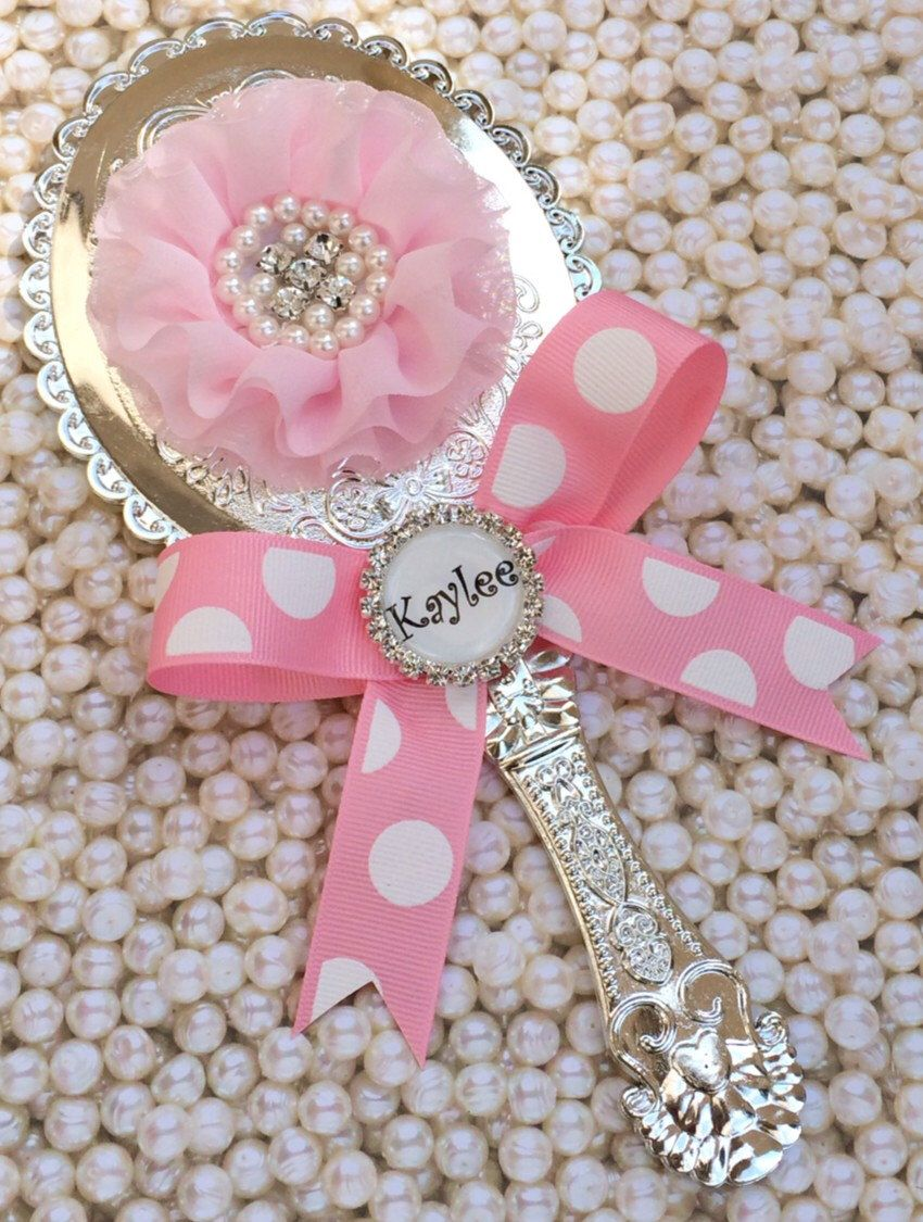Personalized SILVER Princess Hand Mirror party favor kids dress up ...