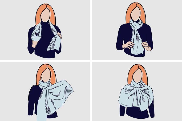 Способы завязывания шарфа с картинками