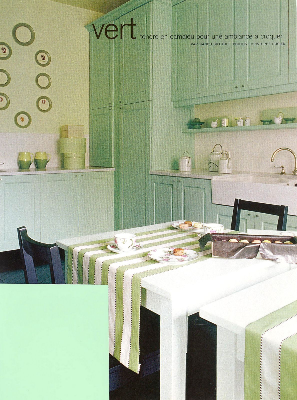 Country Style Kitchen In A Pretty Shade Of Celery Green