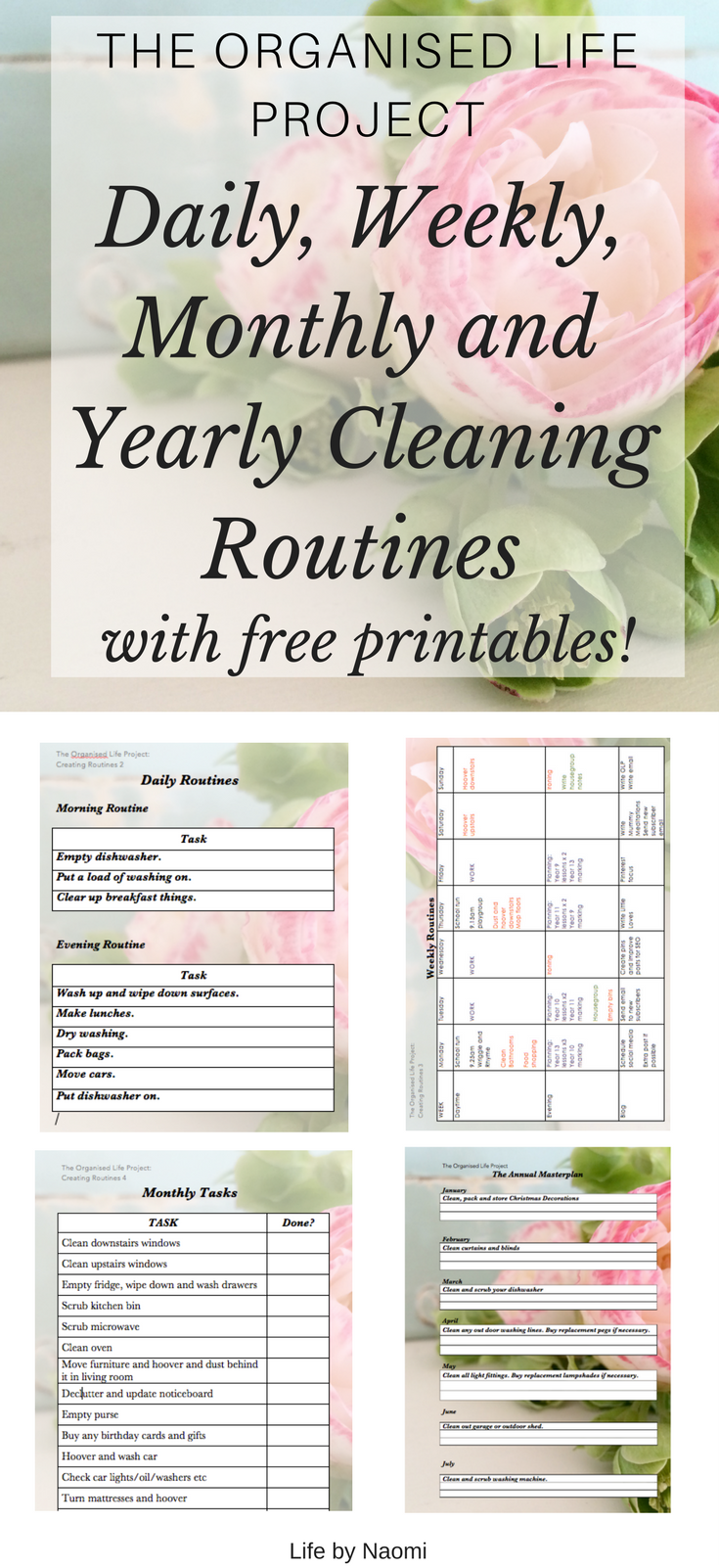 daily weekly monthly and annual cleaning and housework routines