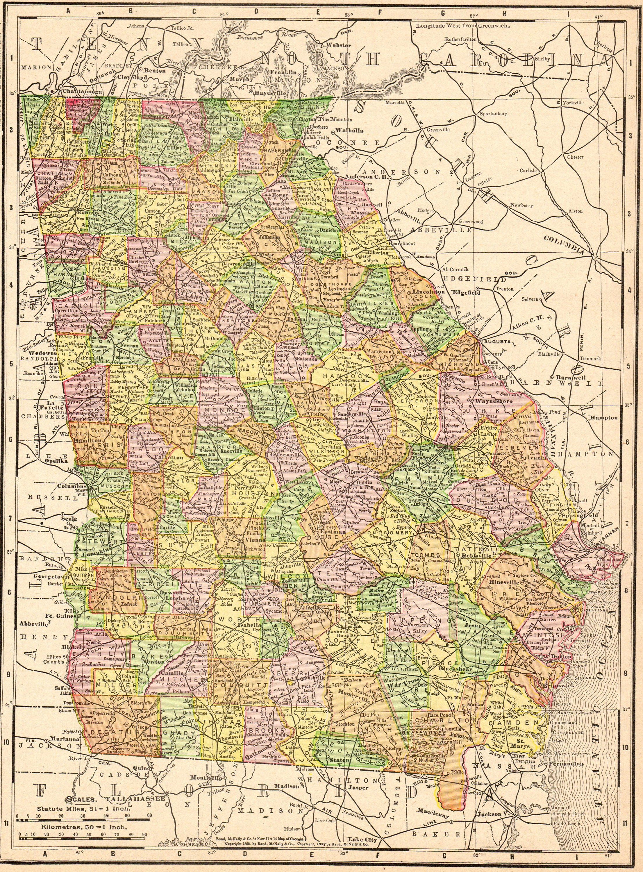 1909 Antique GEORGIA Map Vintage Map of Georgia State Map Gallery ...