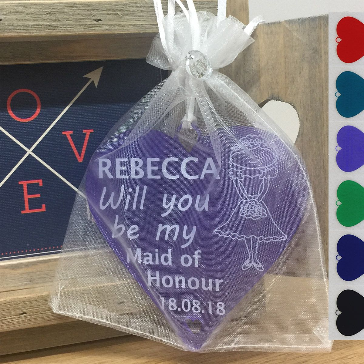 Maid Of Honour Gift Will You Be My Personalised Wedding Heart Keepsake