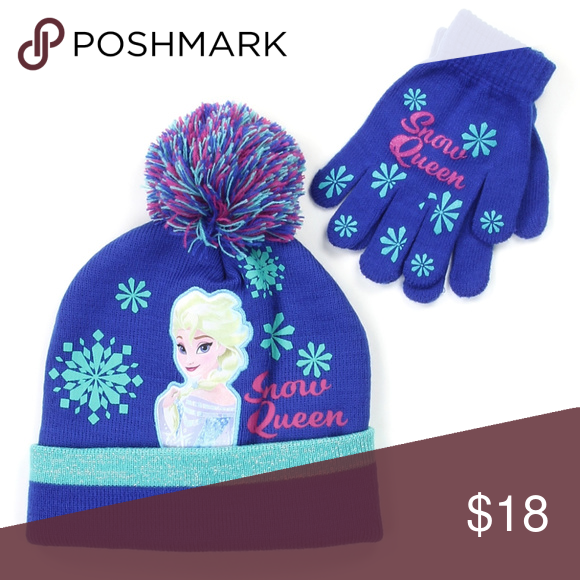 Disney Frozen Girls Set Beanies Gloves