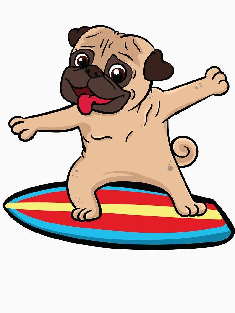 Pug Dog Surfing Surfer Surf Pug Gift Present T Shirt By