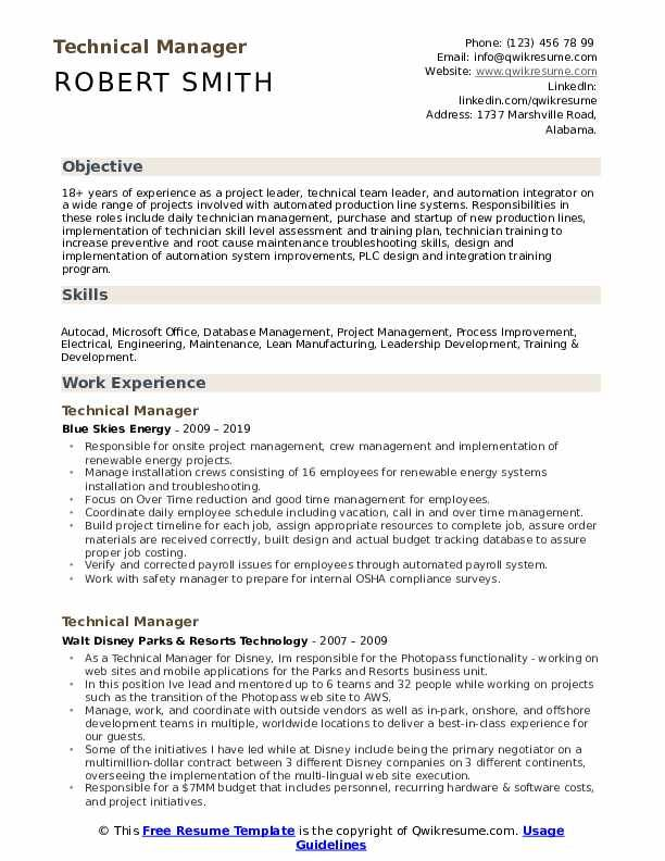 Technical Manager Resume Samples Qwikresume Image Result For Resume Manager Resume Resume Management