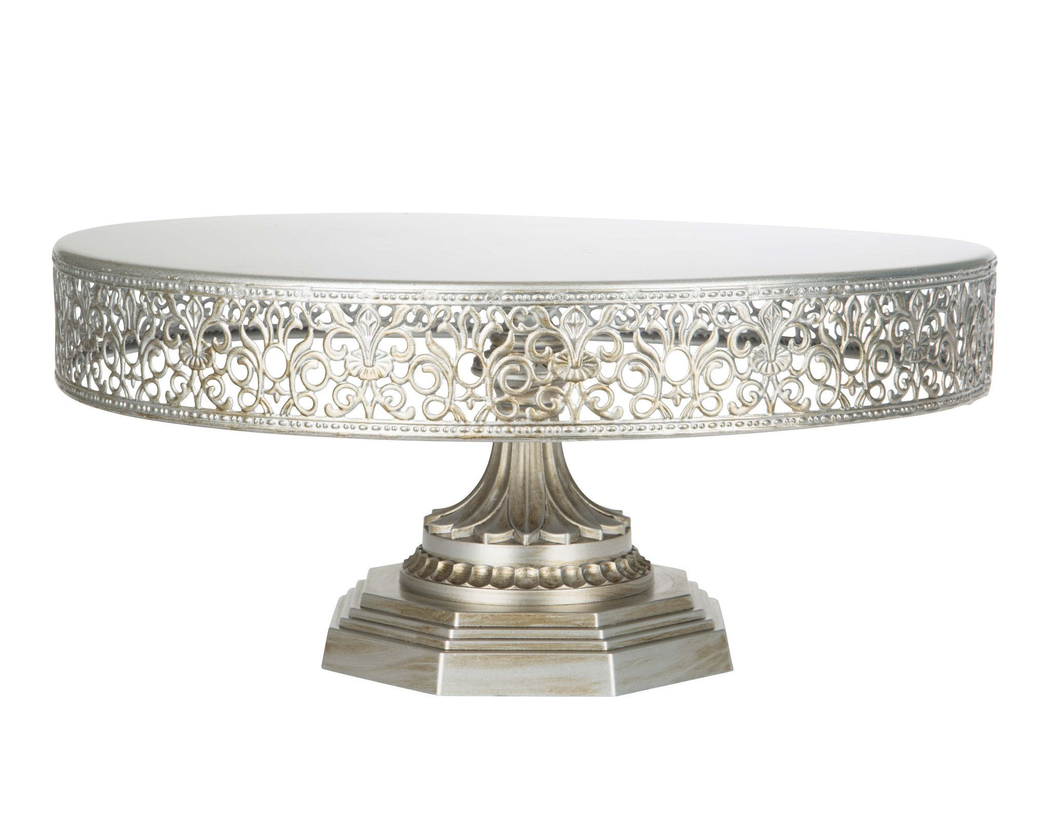 """14"""" diameter flat tray top with a very sturdy weighted base stand"""