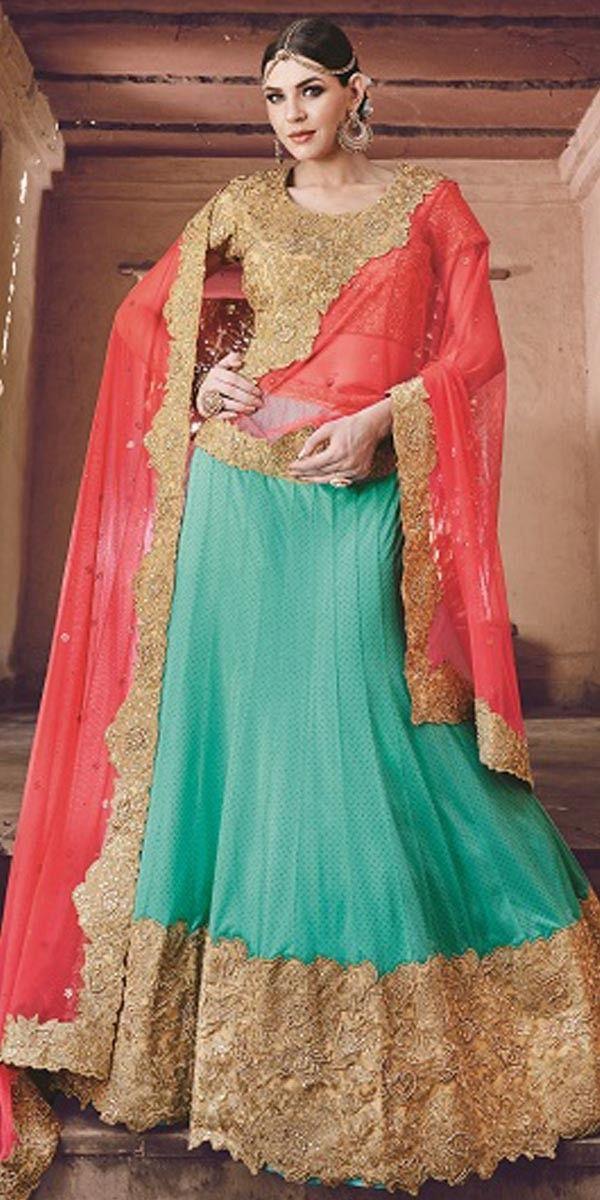 61d960fbdf Radiant Red And Blue Lycra Designer Lehenga Choli. | Saree Central ...